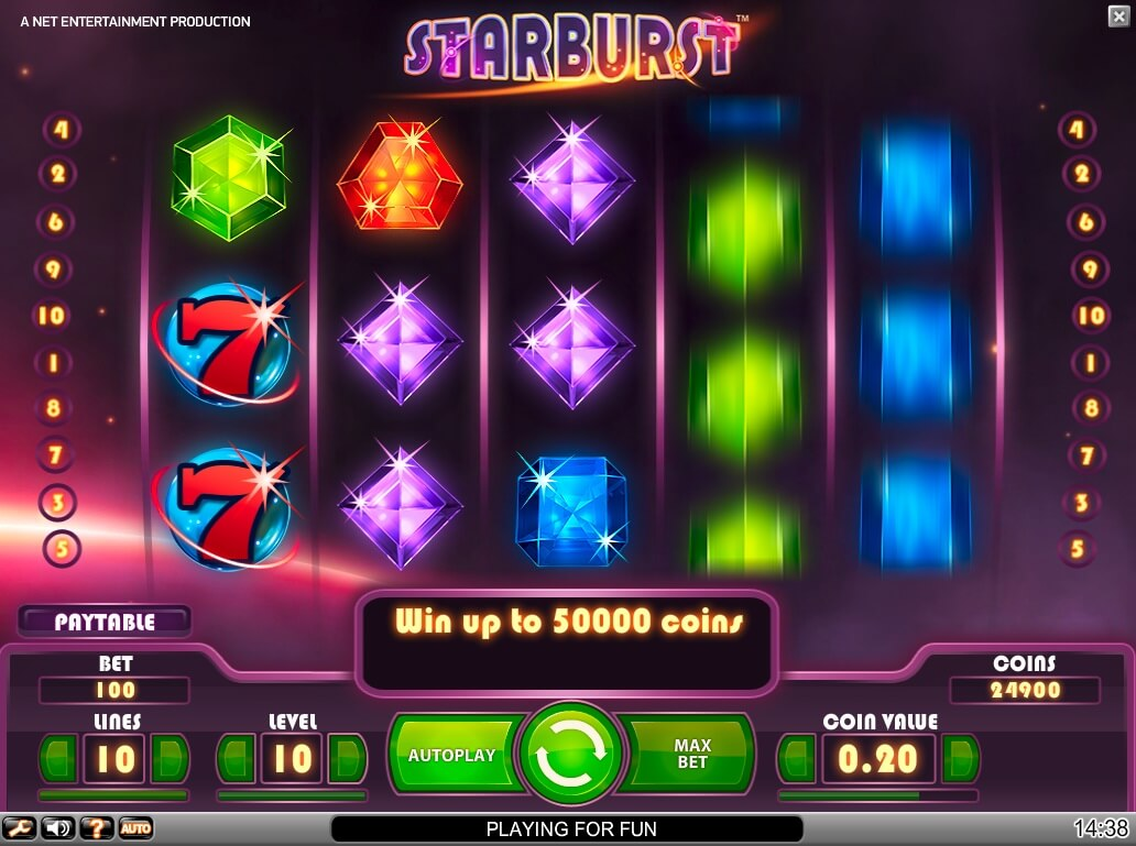 Starburst slots wins